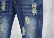 2018 Spring Autumn Baby Boys Girls Jeans Kids Broken Cool Washing Denim Pants Toddler Girls All Match Pants Children Clothes