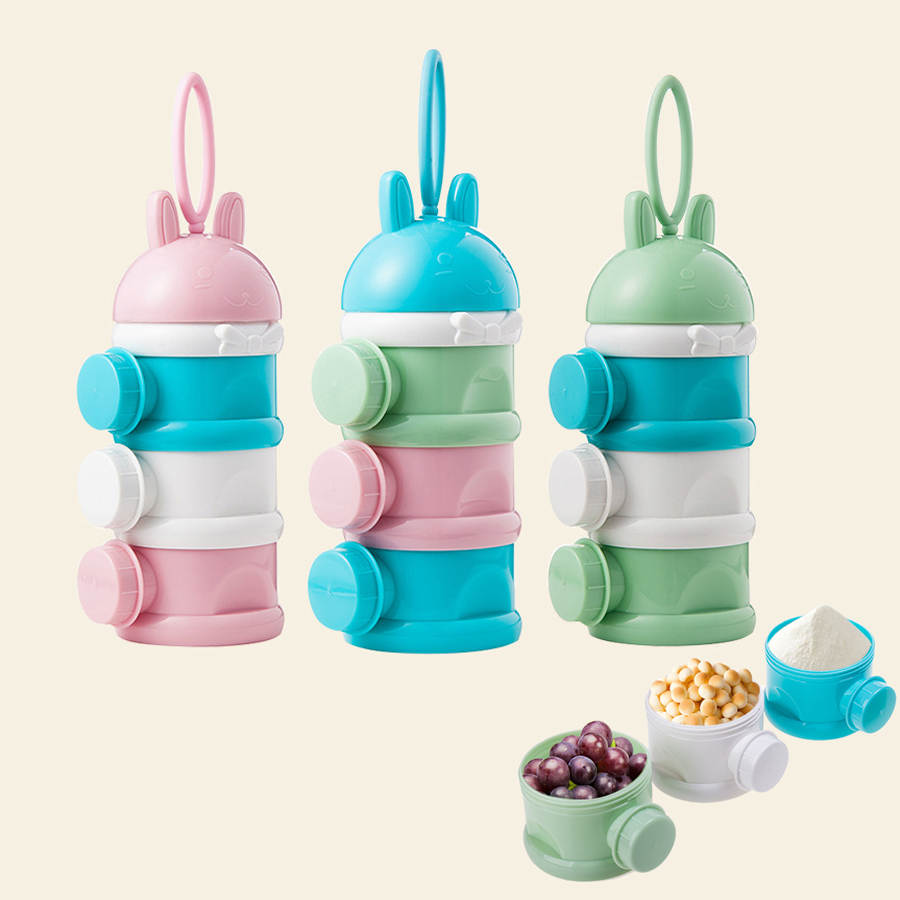 3 Layers Cartoon Portable Baby Food Storage Box Child Milk Powder Boxes Baby Food Container Toddle Kids Formula Milk Container image