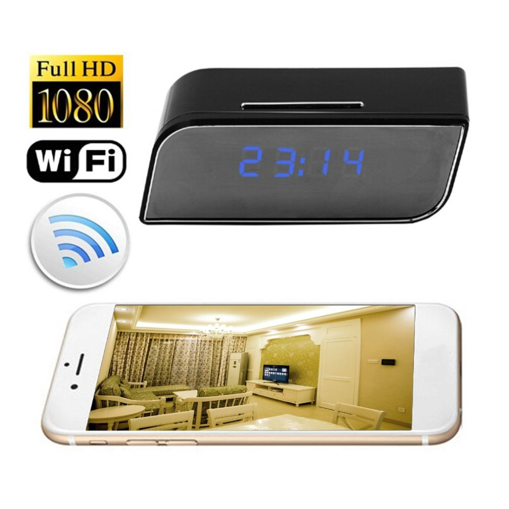 Home Security Wifi Cam Camcorder With Clock Alarm Function Portable Ultra Wide Angle 1080P Camera Wireless Night Vision IR