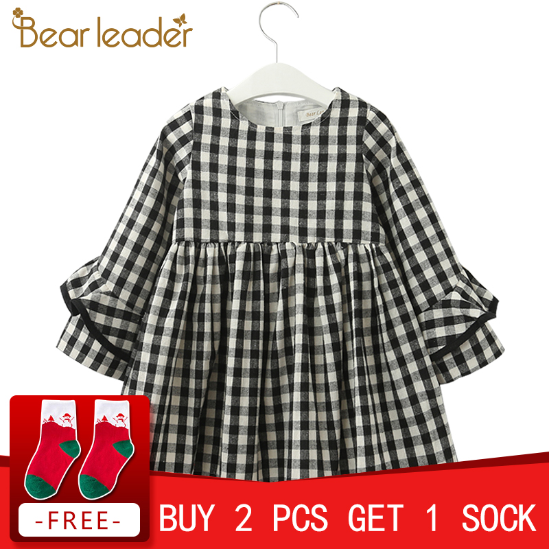Bear Leader Girls Dress New Autumn England Style Princess Dresses Petal Sleeve Design Plaid Printing for Children Clothing bear leader girls dress 2017new brand print princess dress autumn style petal sleeve flowers print design for children clothes