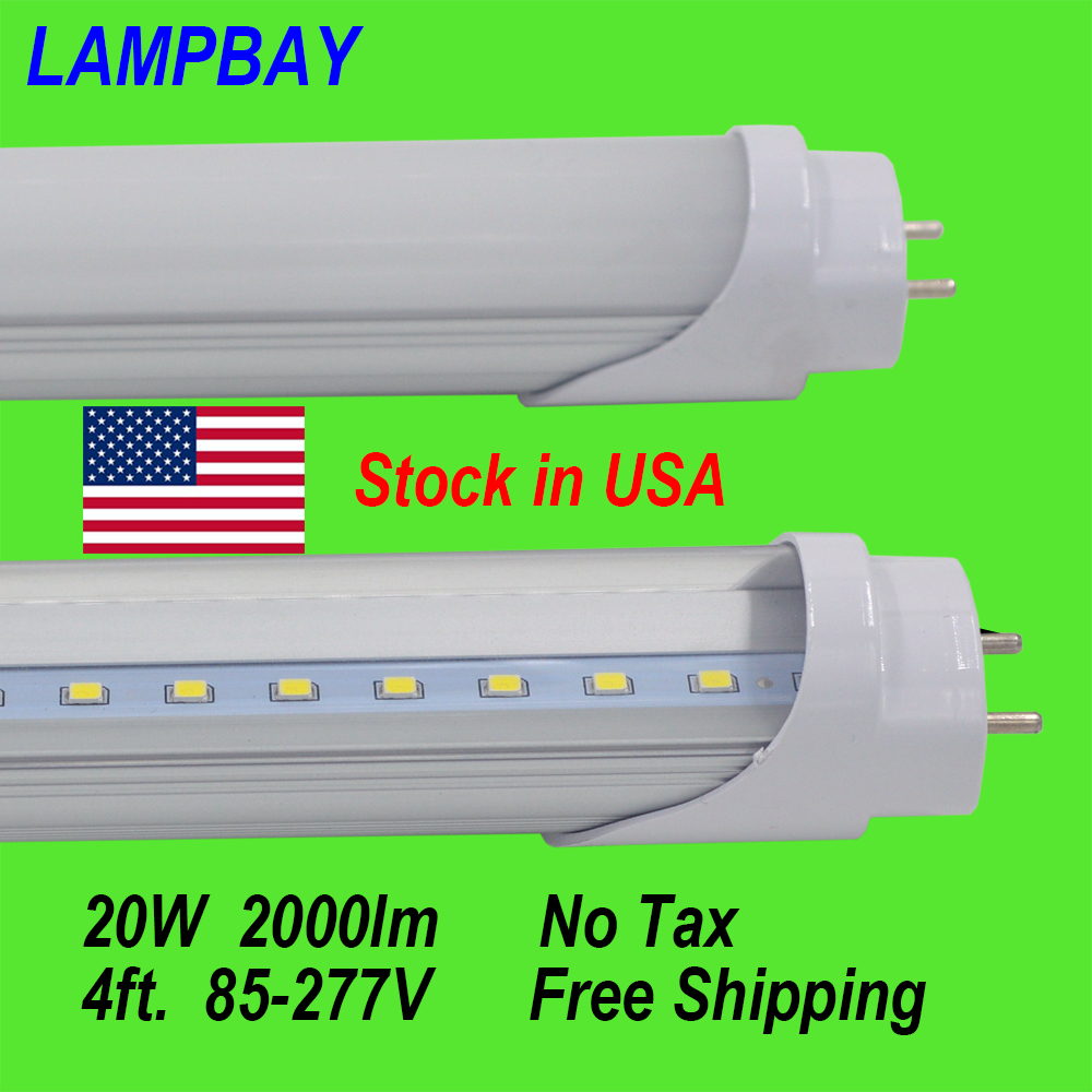 (50 Pack) Free Shipping LED Tube Lights 4ft. 120cm 20W T8 G13 Retrofit bulb work into existing fluorescent fixture Stock in US 4 pack free shipping t5 integrated led tube 4ft 20w milky transparent cover surface mounted bulb comes with accessory 85 277v
