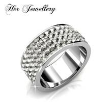 4ea3ac09d25 Suas Jóias anéis de aço inoxidável para as mulheres de cor anel de cristal  Feito com cristais de Swarovski HR0306