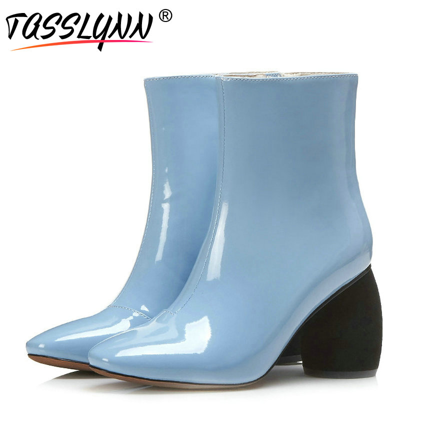 TASSLYNN 2018 Women Boots Winter Shoes Zipper Women Ankle Boots High Heels Patent Leather Square Toe Autumn Boots Size 34-43 hbl led strip 2835 5m 10m rgb led strip light 15m 20m 3528 smd led ribbon flexible led tape non waterproof 12v adapter full set