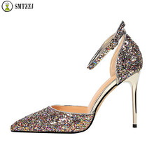 2019 Luxury Brand Silver Gold Bling Women High Heels Pumps Sandals Shoes Female Sexy Classic Spring Single Ladies