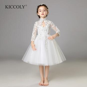 42d8fa89e Elegante tul blanco lentejuelas flor chica ceremonia manga larga desfile princesa  vestido para fiesta boda chica Primera Comunión vestido