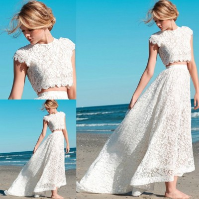 SINGLE ELEMENT Beach Two Piece A Line Wedding Dress Boho Scoop Bride Dress in Wedding Dresses from Weddings Events
