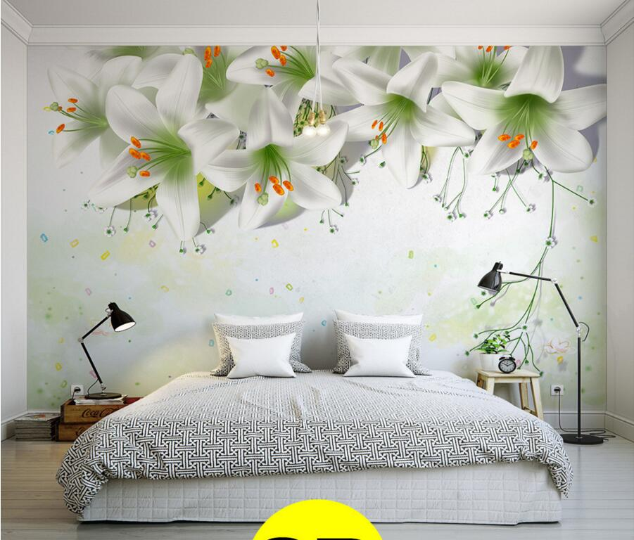 Custom contracted simple elegant warmth lilies murals for Mural 3d simple