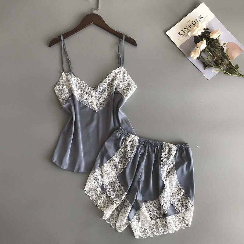 Women   Pajamas     Sets   Silk Nightgowns Sexy Ladies Satin Nightwear Women Robe Nighties Sleepwear shorts combinaison pyjama femme