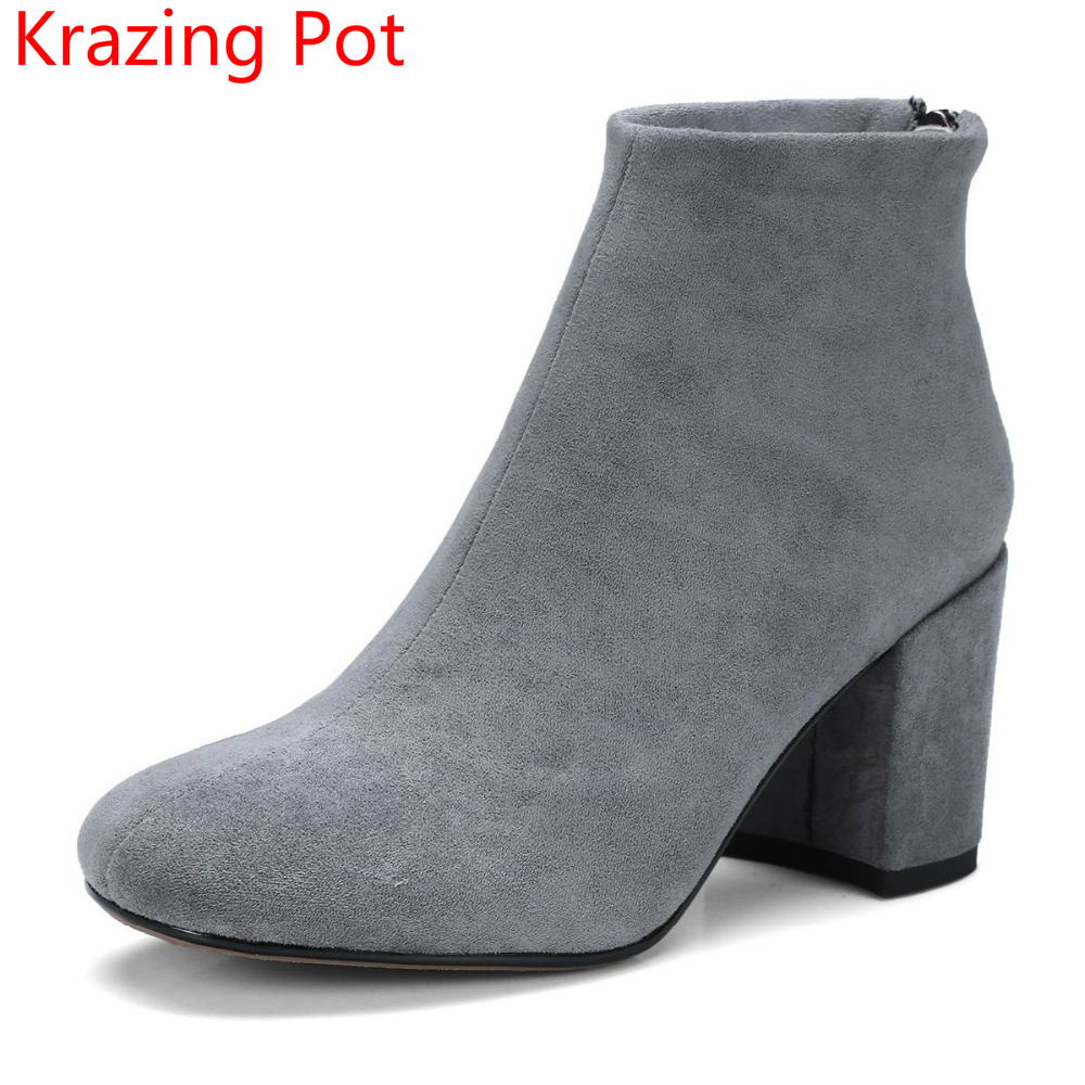 2018 New Arrival Flock Round Toe Zipper Thick Heel Fashion Winter Shoe Runway Superstar Elegant Handmade Concise Ankle Boots L21 купить дешево онлайн