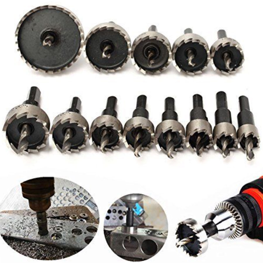 Binoax 13pcs Carbide Tip HSS Drills Bit Hole Saw Set Stainless Steel Metal Alloy 16-53mm 10pcs set carbide tip hss drills bit hole saw set stainless steel metal alloy 15 18 20 22 30mm