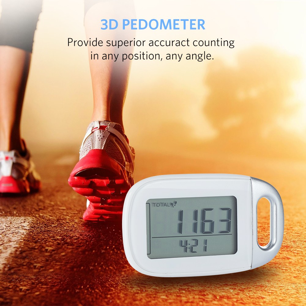 3D LCD Display Pedometer Step Counter Fitness Tracker with 7-Day Memory Digital Sensor Calorie Distance Counter with Lanyard