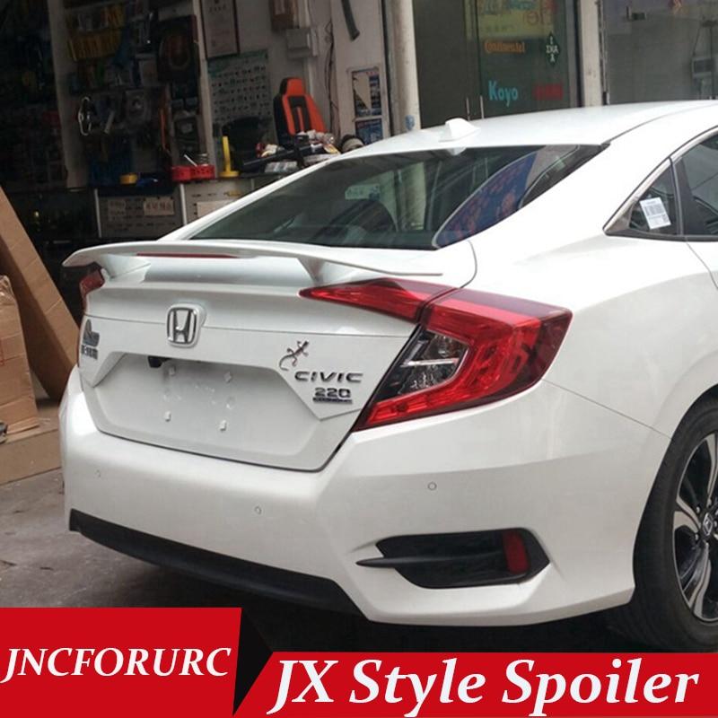JNCFORURC Rear Trunk Car Spoilers Wings For Honda Civic 10th Generation 2016 2017 JX Style High Performance ABS Car Spoiler