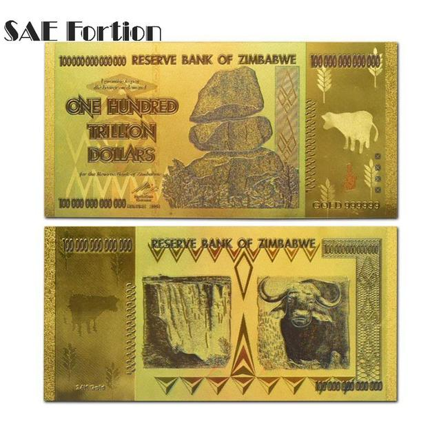 Zimbabwe One Hundred Trillion Dollars Gold Banknote In 24k Plated With 99 9 Metal Pure Dollar Jnb5053