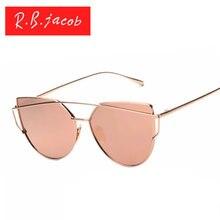 Cat Eye солнечные очки женщин модной UV400 Розовое Золото Зеркало дешевые Леди Плоские линзы Cateye Солнцезащитные Очки Горячие продажа Женский авиации(China (Mainland))