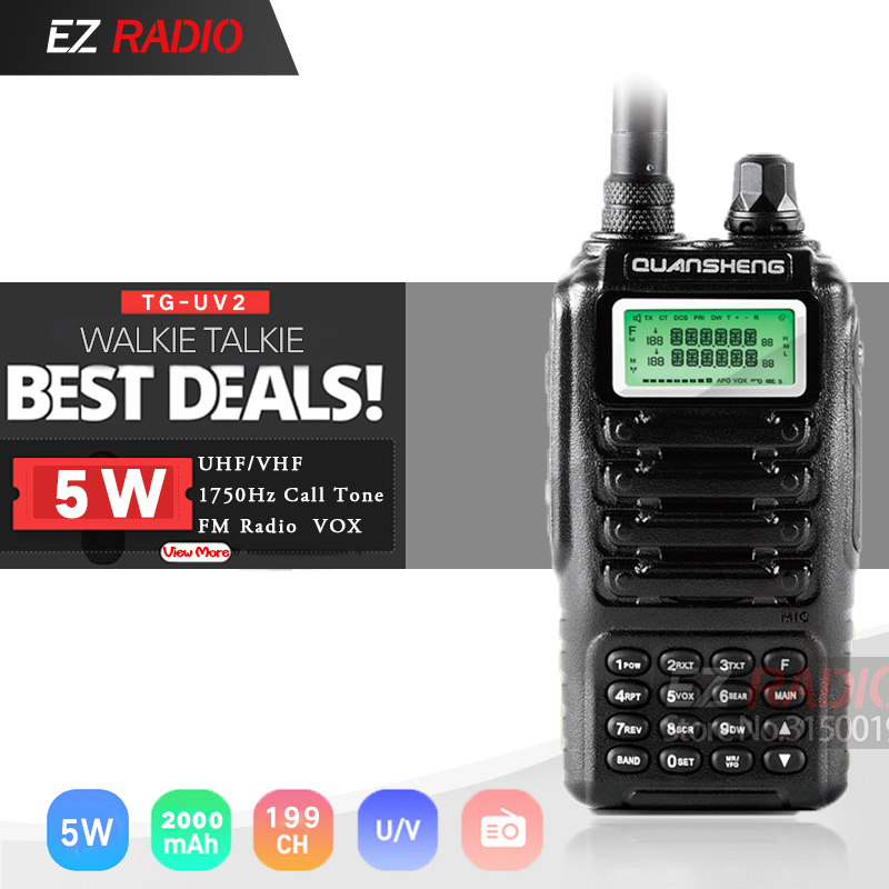 High Quality QUANSHENG TG-UV2 Ham Radio Dual Band 5W QUANSHENG TG UV2 VHF UHF Powerful Walkie Talkie With FCC CE Certification