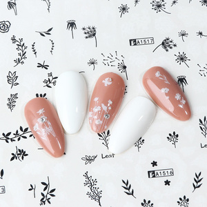 Image 5 - 12pcs Water Transfer Sliders Butterfly Flower Letters Stickers For Nails Manicure White Black Girl Wraps Decoration JIA1513 1524