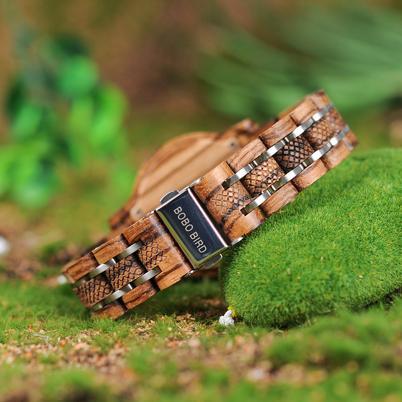 Image 4 - BOBO BIRD Women Wooden Watches Orologio da donna Luxury Wood Metal Strap Chronograph Date Ladies Quartz Watch Timepieces-in Women's Watches from Watches
