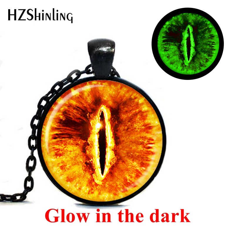 Vintage Glowing Jewelry Sauron Eye Necklace Evil Eye Pendant Jewelry Glass Cabochon Necklace Mens Womens Glowing Pendant