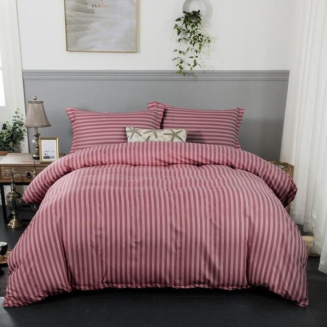 Red Stripe Soft Duvet Cover With Pillowcase Bedlinen 3pcs Single