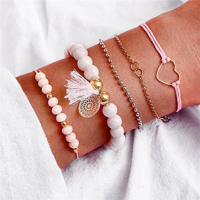 17KM New Boho Stone Beads Charm Bracelets Set For Women Fashion Hollow Heart Flower Tassel Bracelet DIY Female Jewelry Gifts