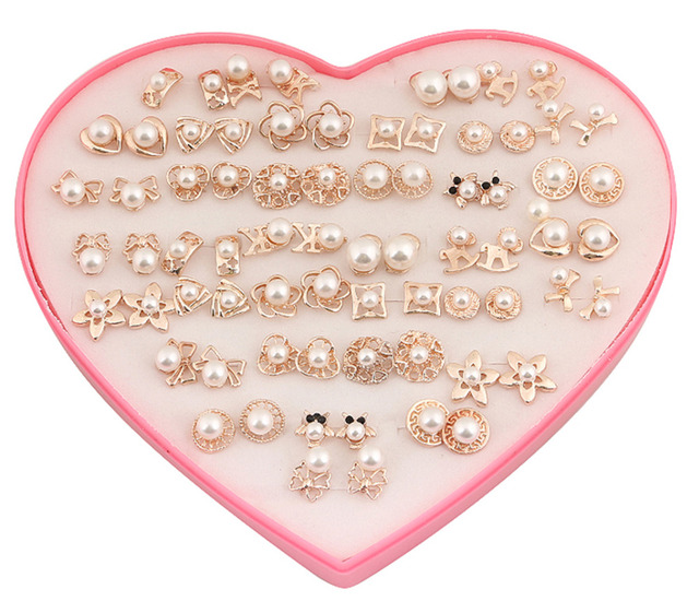 36 Pairs Set Mixed Random Gold Pearl Earrings Fashion Women Costume Jewellery Ear Studs With Heart Display Box Gifts