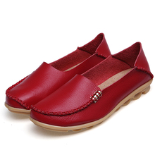 Candy Colors Genuine Leather Women Casual Shoes Fashion Breathable Slip-on Peas Massage Metal Decoration Flat Shoes