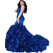 Doragrace vestidos de fiesta Mermaid Prom Dresses Royal Blue Ruffles Evening Gowns Plus Size Deep V-Neck Backless