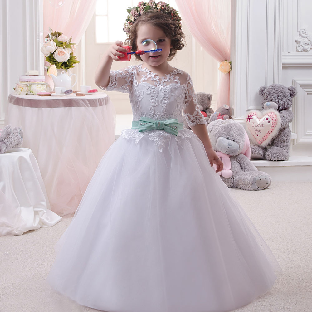 Hot Sale White Long Sleeve Communion Dresses Crew Neck Solid Bow Sash Ball Gown Pageant Dress Robe De Communion Fille Blanche
