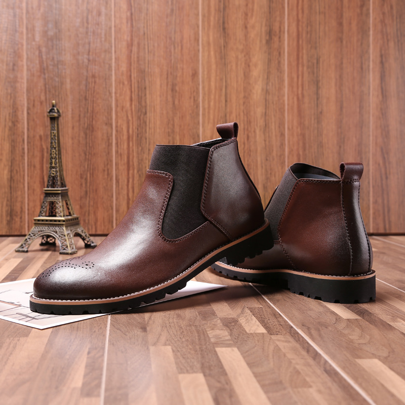 Ankle Round Toe Zip Men Chelsea Boots Sewing Solid Vintage Motorcycle Boots Fashion British Style Shoes vintage mini sewing machine style mechanical music box