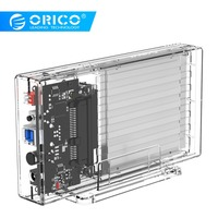 ORICO 2 Bay 2.5'' HDD Case With Raid Function SATA to USB 3.0 Transparent Hard Drive Box Support UASP for 7 9.5 mm HDD SSD 6TB