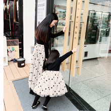 2019 Spring Kid Start Lace Dresses Ball Down Mesh Dresses for Mom & Me Princess full sleeve t-shirt patchworked lace dres black(China)
