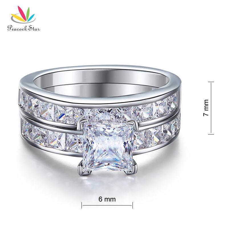 Павлин звезда Твердые 925 пробы серебро 2 шт обручальное кольцо набор 1 Ct Принцесса огранка ювелирные изделия CFR8020