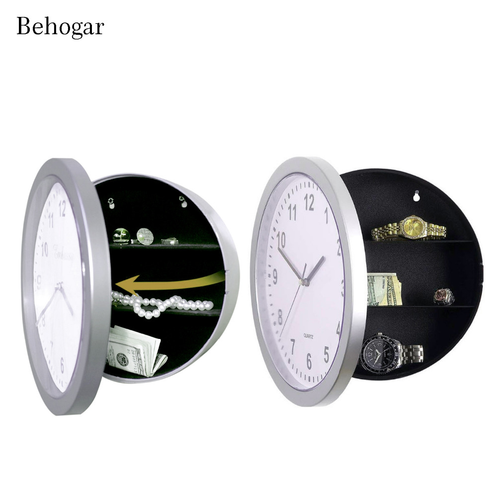 Behogar Wall Clock Diversion Safe Secret Stash Money Cash Jewelry Toy Storage Security Lock Box Tin Container Organizer Huf