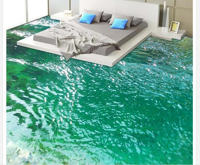 €19.17 58% de réduction|3d peinture au sol papier peint rivière salle de  bains chambre 3D étage étanche papier peint pour salle de bain mur 3d ...