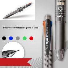 Caneta esferográfica multifuncional de quatro cores caneta esferográfica preto/azul/verde/vermelho caneta esferográfica 0.7mm + 1 peça 0.5mm lápis