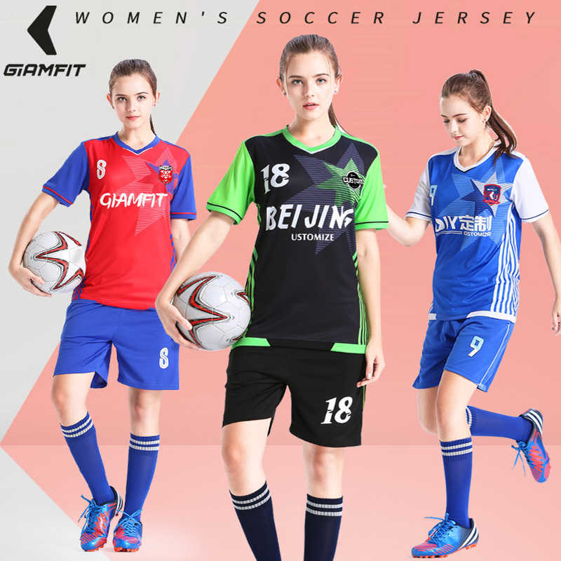 55d836084 JIANFEI Adult Soccer Jerseys for Women France Football Breathable Team  Training Uniform Sets Sweat Absorbing Suit
