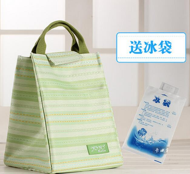 Portable Lunch Bags Cooler Insulated Lunch Bag For Women Thermal Canvas Lunch Carry Storage Picnic Bag Pouch Send Ice Pack