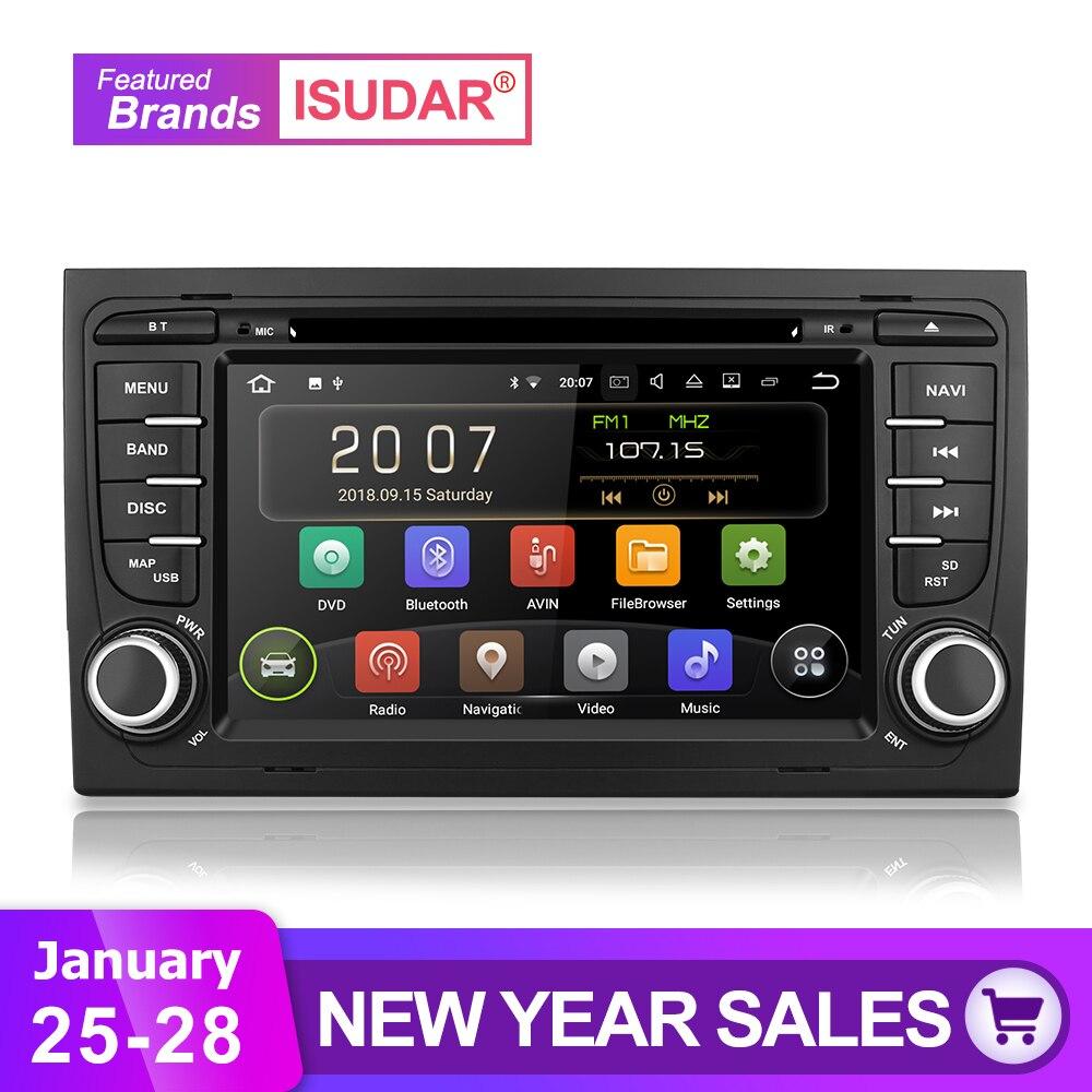 Isudar Auto Sistema Multimediale Android 8.1 2 Din Lettore DVD Dell'automobile Per Audi/A4/S4 2002-2008 GPS Radio FM DAB USB DVR DSP Rockchip