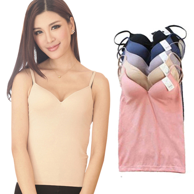 5dde539444c7c 2107 Women Sexy camis Wireless Padded Bra Tops Modal Adjustable Strap V  Neck Camisole elastic Push