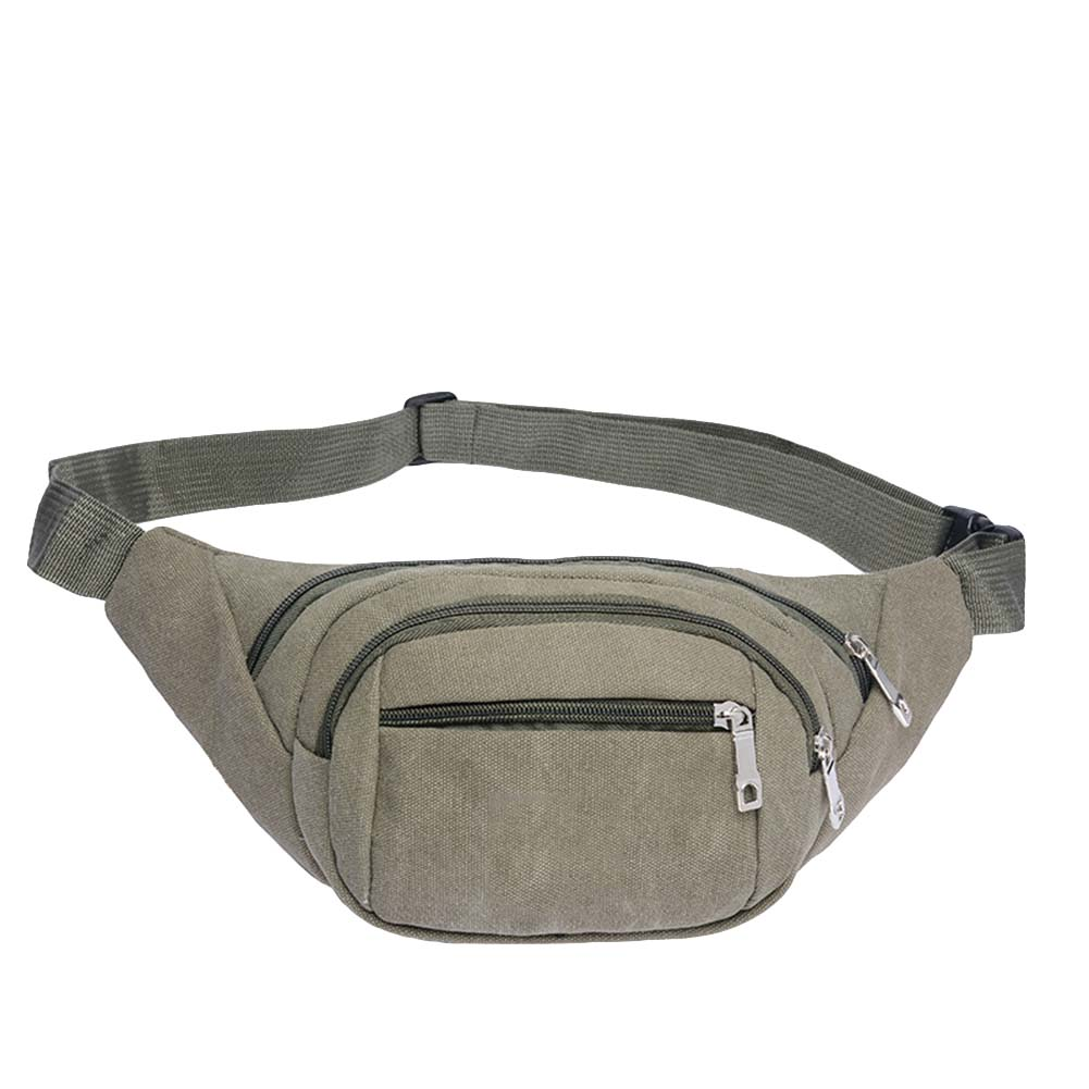 Men Zip Crossbody Shoulder Chest Waist Bag Canvas Fanny Pack Unisex Mobile Phone Zipper Pouch Belt Bags