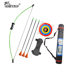 Archery Straight Bow Set 15lbs Children's Bow Recurve Bow With Sucker Arrow Shooting Game Bow And Arrow Set Left And Right Hand portable recurve take down bow game cs bow and arrow set with harmless right hand outdoor hunting bow archery shooting