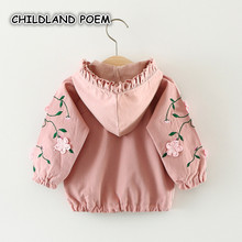 Baby Girl Jacket Coat Spring Autumn Hooded Embroidery Infant