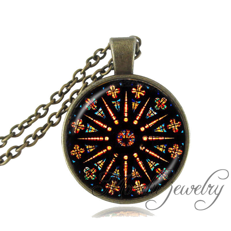 Church Stained Glass pendant neklace mandala Jewelry Notre Dame de Paris stained necklace for women men gift fashion jewelry