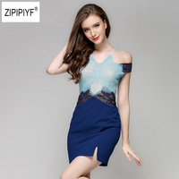 Blue Slim Summer Dress Womens Sexy Night Club Halter Neck Off Shoulder Sleeveless Sheath Bodycon Slit Lace Dress Short B1117