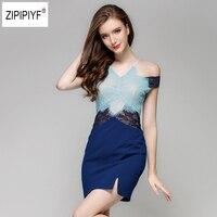 Blue Slim Summer Dress Womens Sexy Night Club Halter Neck Off Shoulder Sleeveless Sheath Bodycon Slit Lace Dress Short B1117