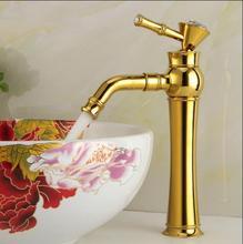 Freies Verschiffen badezimmer-becken gold wasserhahn, messing mit Diamant/kristall körper leitungs New Luxus Einhand heißen und kalten wasserhahn