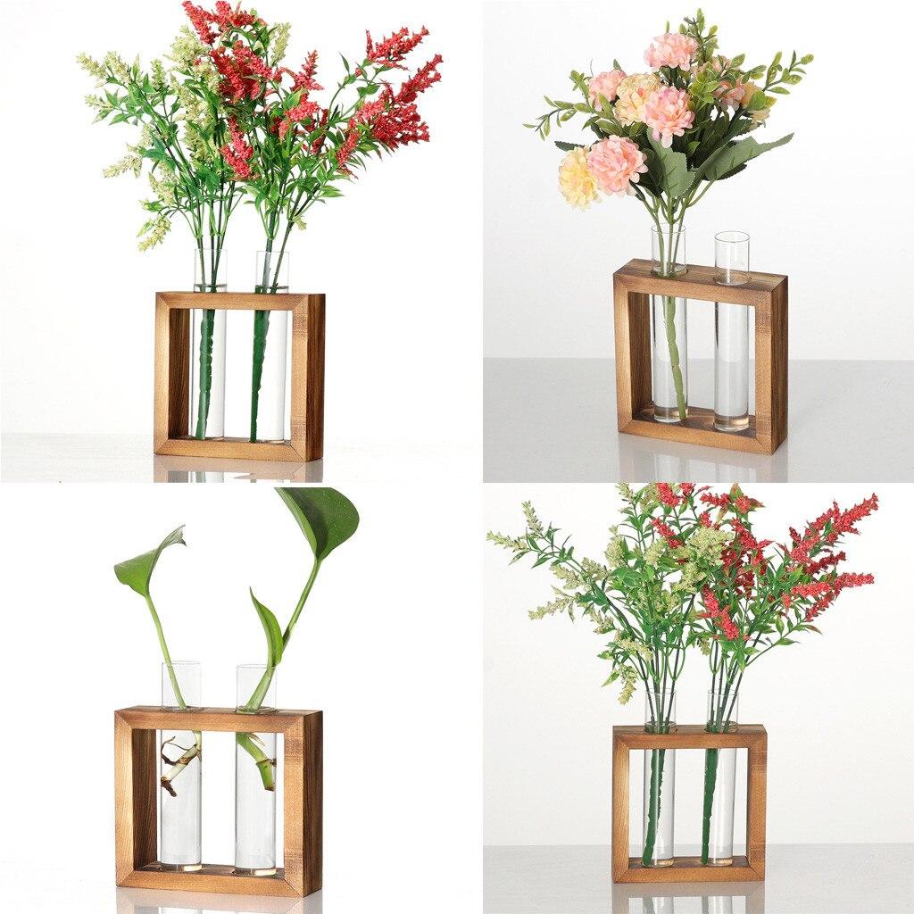 Creative Hydroponic Plant Transparent Vase Wooden Frame Coffee Shop Room Decor