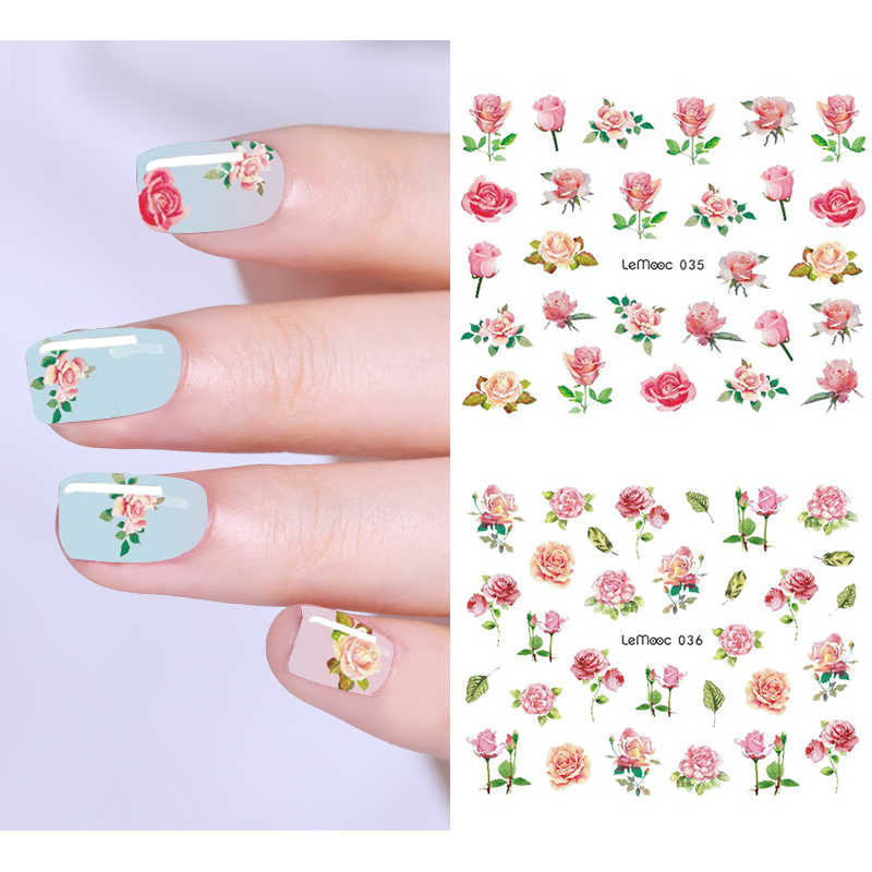 LEMOOC 1 Sheet Nail Sticker Transfer Water Decals Bird Flower Series Designs  Nail Art Nail Decoration for Manicure Watermark