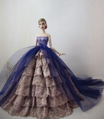 Hot Wedding Dress For Barbie Doll Princess Evening Party Clothes Wears Long Dress Outfit Set For Barbie Clothes
