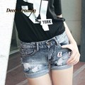 2016 New Summer Style Destroyed Dirty Ripped Distress Low Waist Denim Shorts Jeans for women feminino feminina 3386